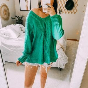 Teal dreamer oversized woven chunky sweater